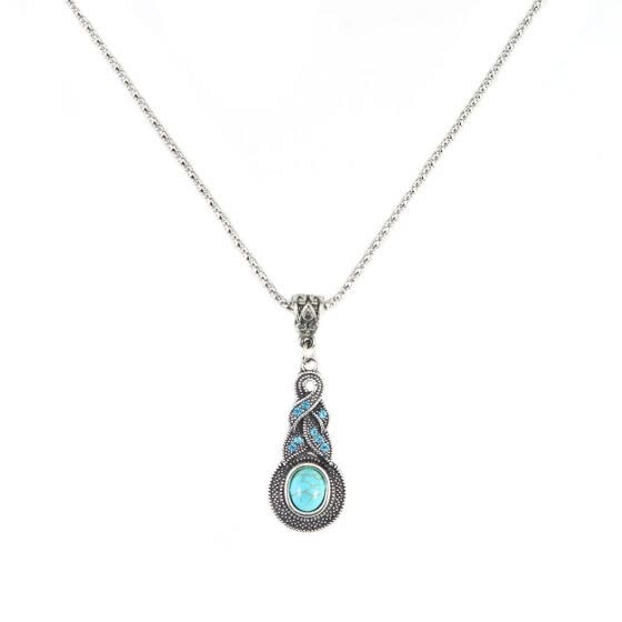 Womens Retro Blue Crystal Pendant Necklace Women Turquoise Jewelry