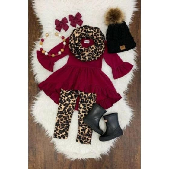 Boutique Toddler Kids Baby Girl Tops Dress+Leopard Pants+Headband Outfit Clothes