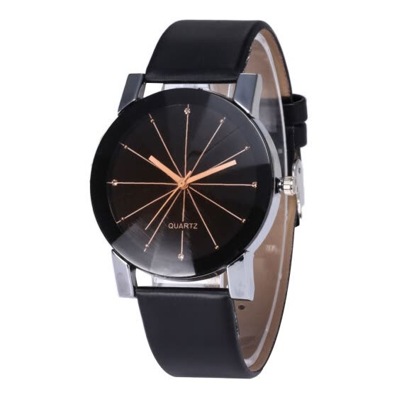 Bluelans Simple Round Dial Linear Analog Faux Leather Band Women Quartz Wrist Watch Gift