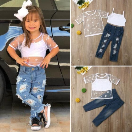 Toddler Girls Summer Clothes T-shirt + Crop Tops+Ripped Jeans 3PCS Outfits 1-6Y