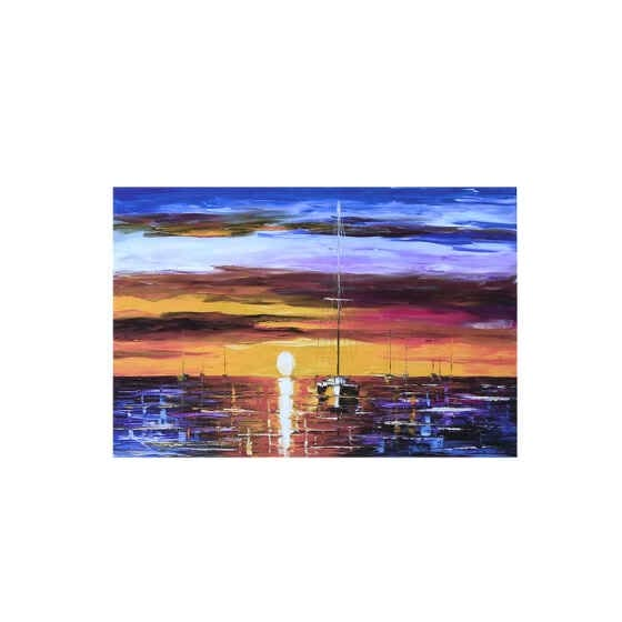 Impressionism Wall Art Sailing Boat Print on Polyester Sunset Painting Decoration for Living Room