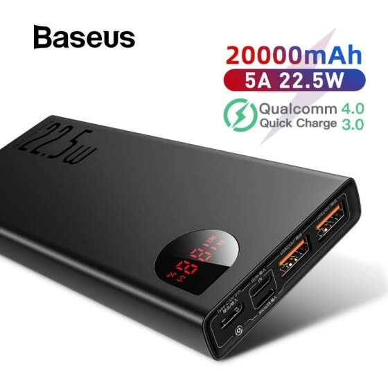 Baseus SCP+ Adaman Metal Digital Display Quick Charge 20000mAh Power Bank for iPhone 11/Huawei/Samsung/Xiaomi with QC3.0+PD3.0