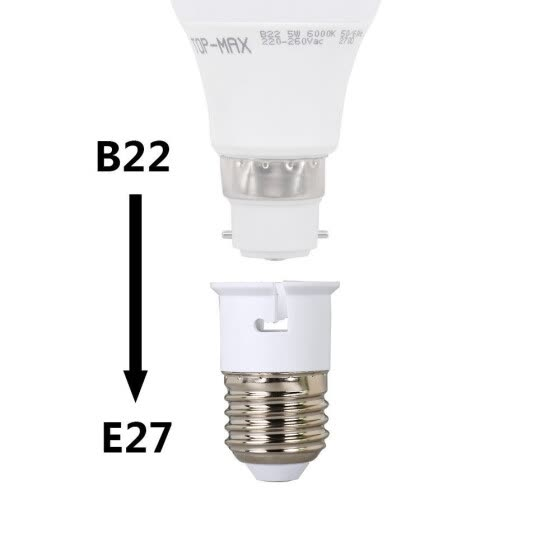 Lamp holder E27 / E26 to B22 converter Edison screw LED bulb base socket converter adapter accessories extender (4PCS)