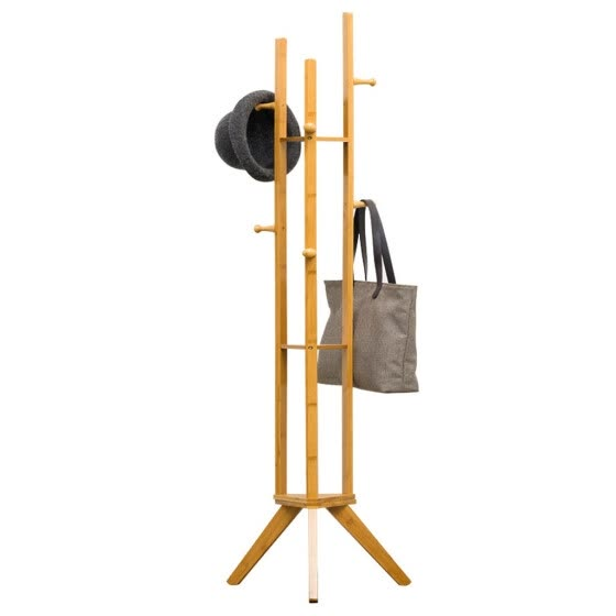 Gobestart Entryway Furniture Clothes Laundry Coat Rack With 6 Hooks 3-Tier Storage Shelves