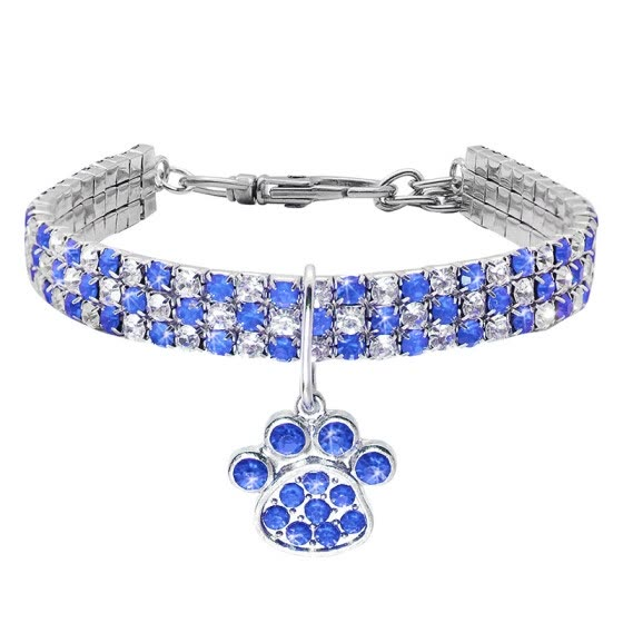 1 PC Cat Dog Rhinestone Collar Sparkly Pet Crystal Diamante Diamonds Elastic Necklace With Paw Pendant