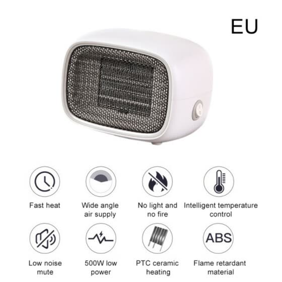 220V 500W Portable Electric Heater Fan Heater Desktop Household Heating Stove Radiator Warmer Machine for Winter EU Plug