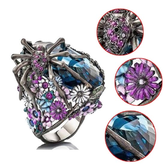 Bluelans Women Vintage Spider Faux Sapphire Flower Finger Ring Wedding Party Jewelry Gift
