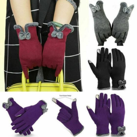2019 Winter Warm Thick Soft Cashmere Touch Screen Fleece Gloves For Women Ladies