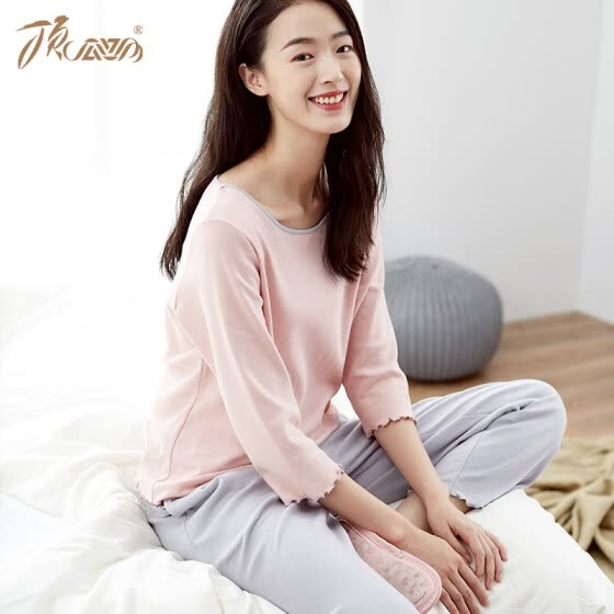 Top melon melon pajamas women cotton spring fashion Korean version of the seven-point sleeves can be worn outside home service suit t01120jd pink female models