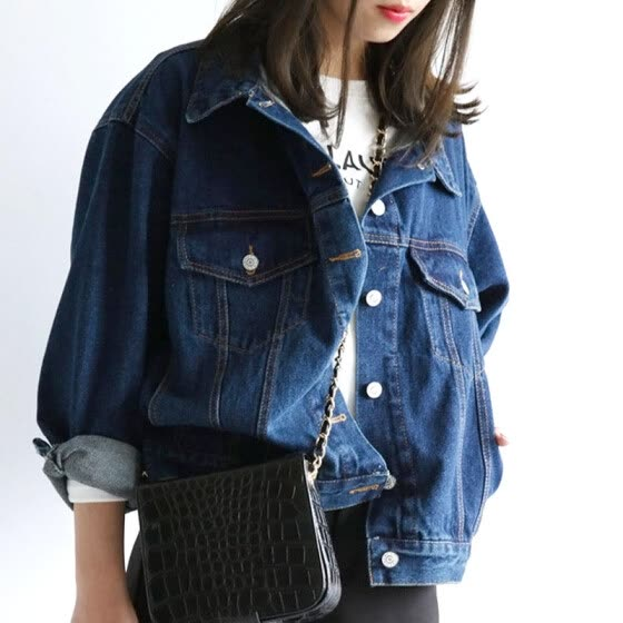 Woman Fashion Basic Jackets Brand Ladies Denim Jackets Blue Jean Coats Outerwear casaco feminino M48