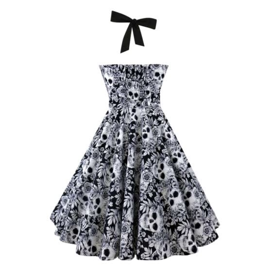 Women's Hanging Neck Print  Fashion Dress Hepburn Style High Waist Backless Big Swing Gown Retro Dress