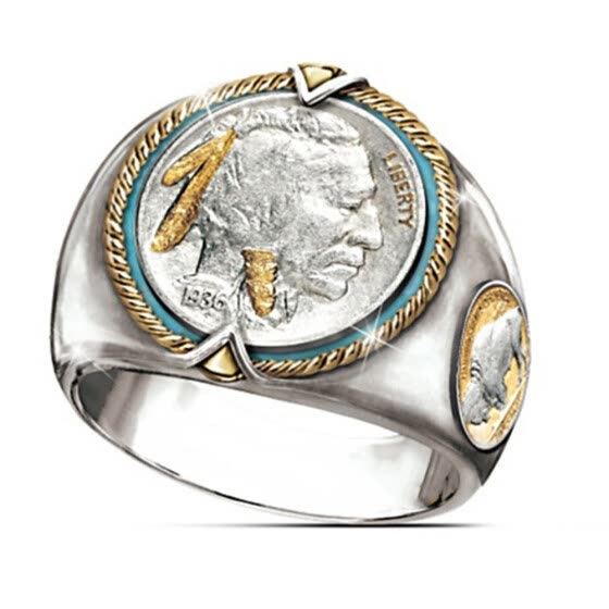 925 Sterling Silver And 18K Gold Hip Hop Two-Tone Men Rings Honoring The West Indian Ethnic Style Cowboy Jewelry Mens