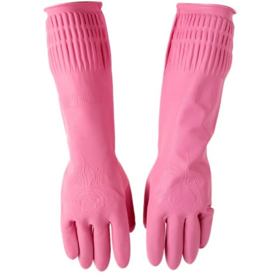 High Quality Red Kitchen Wash Dishes Protect Hands Gloves Cleaning Waterproof Long Rubber Latex Gloves Tool