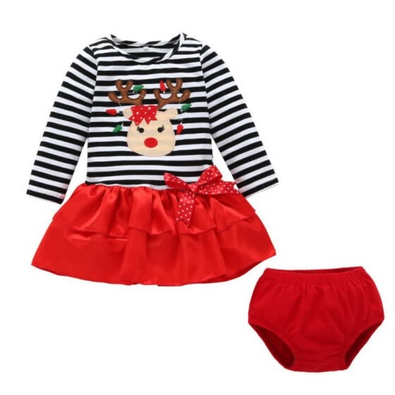 2Pcs Baby Girls Dress Sets Kids Christmas Deer Stripe Pattern Dresses Casual Long Sleeve Tutu dress+Shorts Baby Clothing