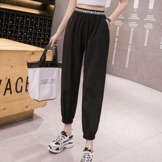 UK Womens Lady Casual Solid Color Elastic Waist Drawstring Harem Pants Trousers