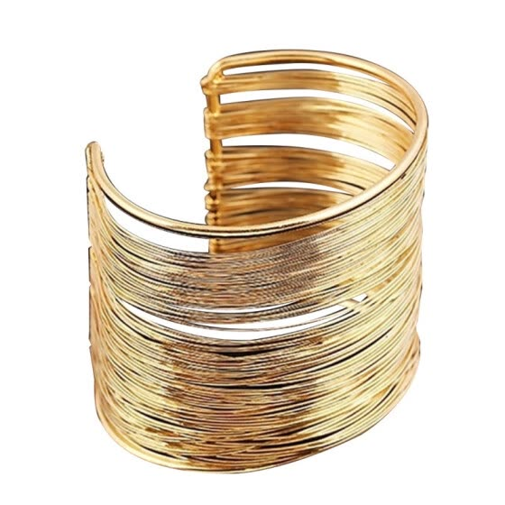 Minimalist Women Multi-strand Metal Open Bangle Wide Cuff Bracelet Jewelry Gift