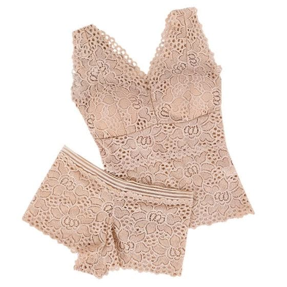 Fashion Sexy 2 piece Woman Lace Sexy Underwear Women Solid Color Bras and Panties Set Wire Free Push Up V-neck Bra Sets