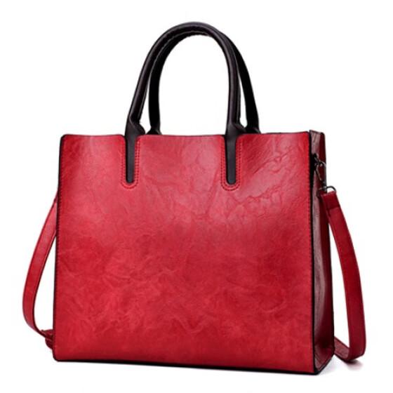 c84dd6c0fa7b Shop New Vintage Women Handbag Luxury Oil Wax PU Leather Shoulder ...