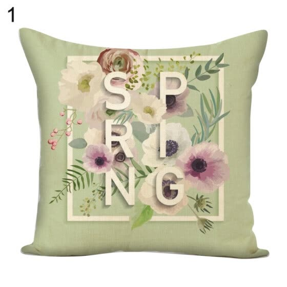 Letters Flower Green Plants Square Pillow Case Cushion Cover Sofa Bed Car Decor