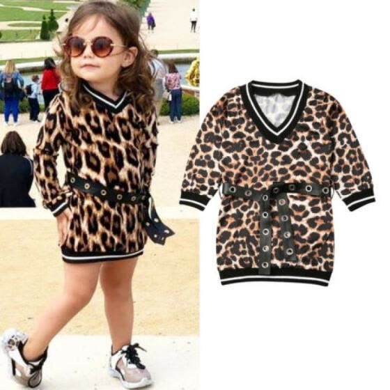 US Stock Kid Baby Girl Long Sleeve Leopard Dress+Waistband T-shirt Dress Clothes