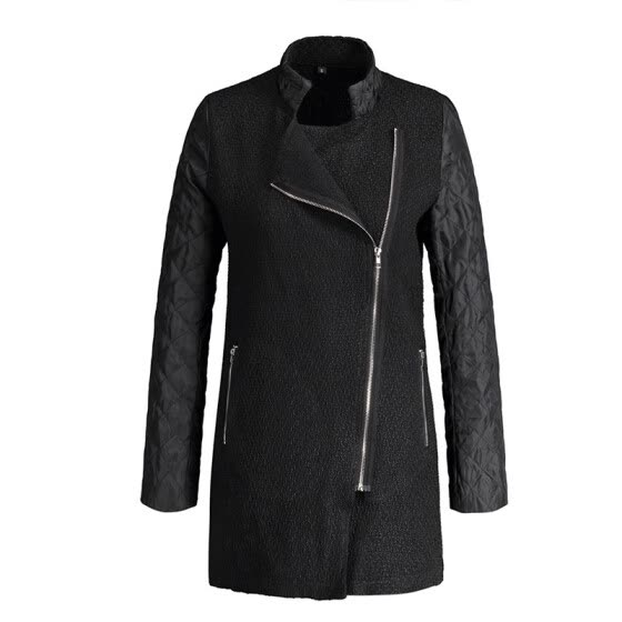 Hot Sale Patchwork Wool PU Leather Long Sleeve Jacket Coat With Side Zipper Pocket Outwear Tops Outcoats Female Winter