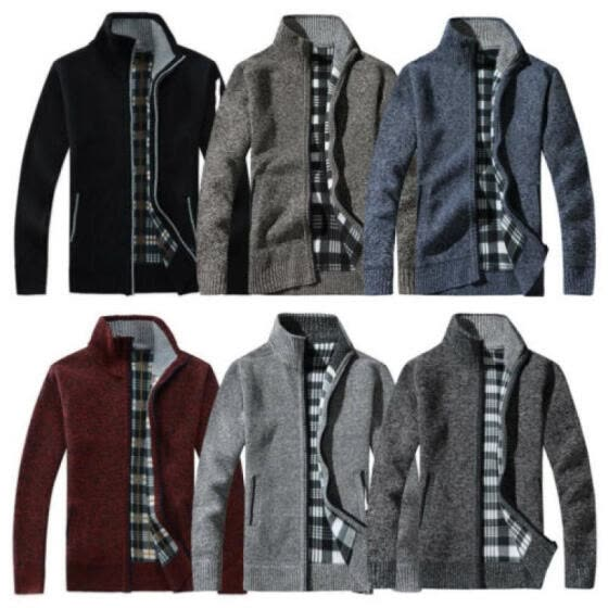 Men's Zip Up Thick Velvet Spring Autumn Knitted Cardigan Classic Jumper Cardigan