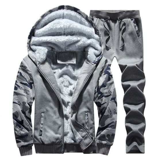 Thickened Warm Male Hoodies Sweatshirts Men's Winter Inner Fleece Coat + Pants for Men Casual Camo Zipper Hoodie Adult Tracksuit