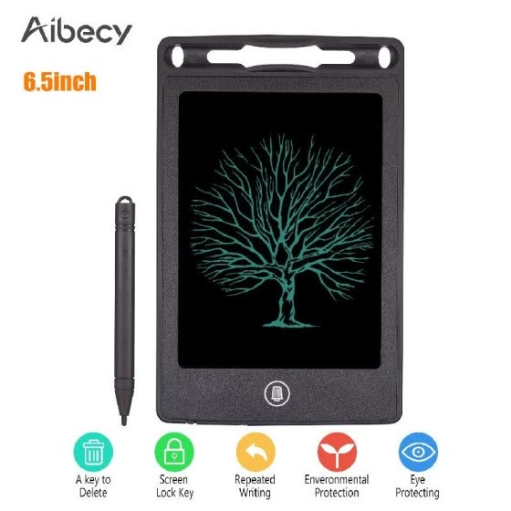 Aibecy Small Portable 6.5 Inch LCD Writing Tablet Reusable Electronic Drawing Board Handwriting Pad with Stylus Pen Erase Button L