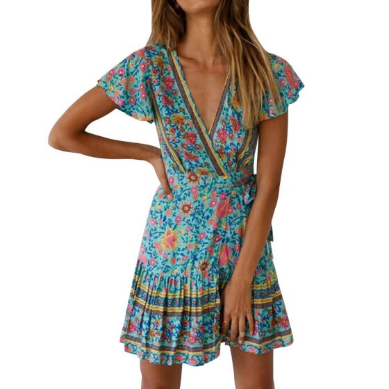 US Women Short Sleeve Wrap Boho Floral Mini Dress Ladies Summer Sundress Holiday