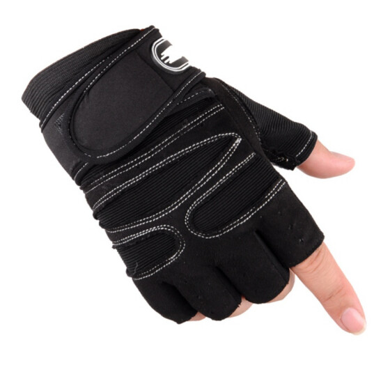 Mesh Leather Cycling Gloves Riding Bicycle Finger less Sports Half Finger Gloves