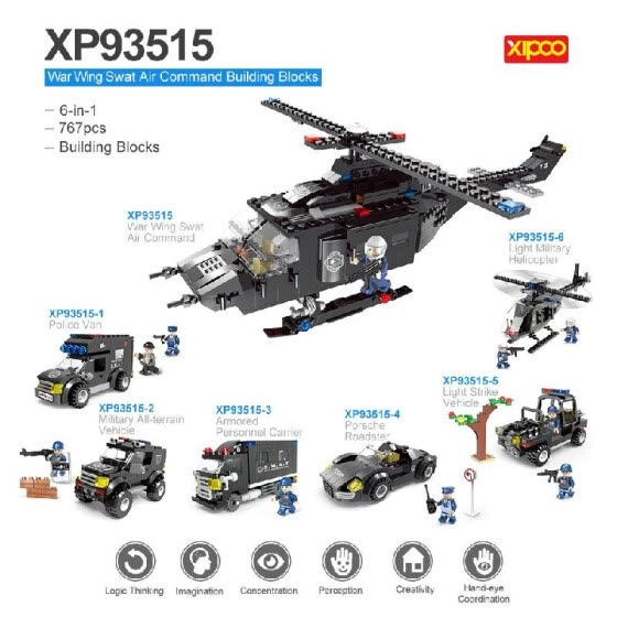 6-in-1 XIPOO 767pcs XP93515 War Wing Swat Air Command Building Blocks Educational Toys