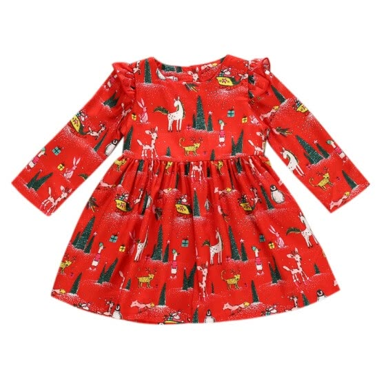 New Autumn Casual Baby Girls Long Sleeve Christmas Cartoon Print Dress Kids Princess Pageant Dresses Cotton Fashion Clothes