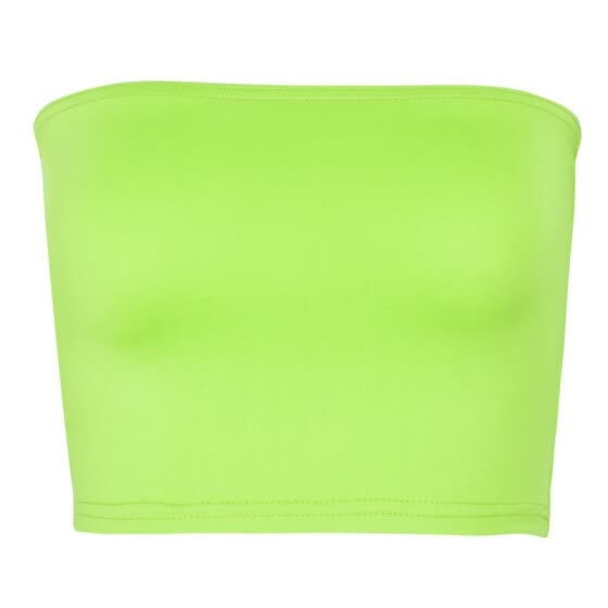 Sexy Fluorescent Green Tube Tops for Women Fashion Underwear Strapless Bandeau Top Off Shoulder Crop Tops Bra Ladies Intimates