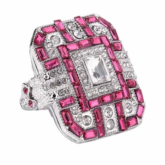 Bluelans Glitter Rectangle Full Rhinestone Inlaid Finger Ring Women Wedding Jewelry Gift