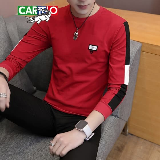 Cartier crocodile (CARTELO) T-shirt 2019 spring and autumn new men's fashion casual round neck Slim long-sleeved T-shirt D305-1-6606 red 2XL