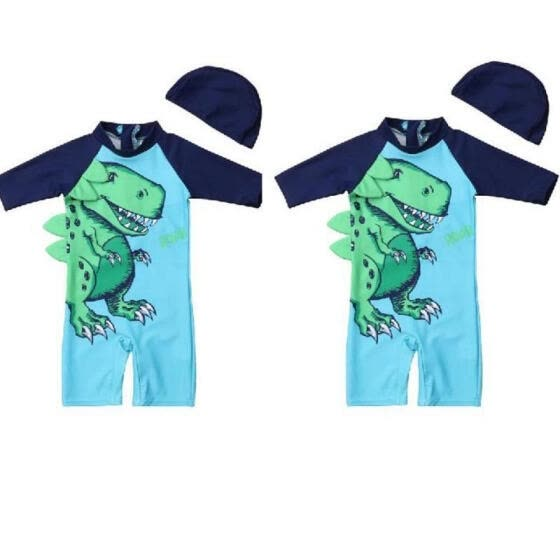 2PCS Baby Kids Boy Dinosaur Swimming Costume Trunks+Hat Set Summer Beach Swimwear Fit For 1-6Y