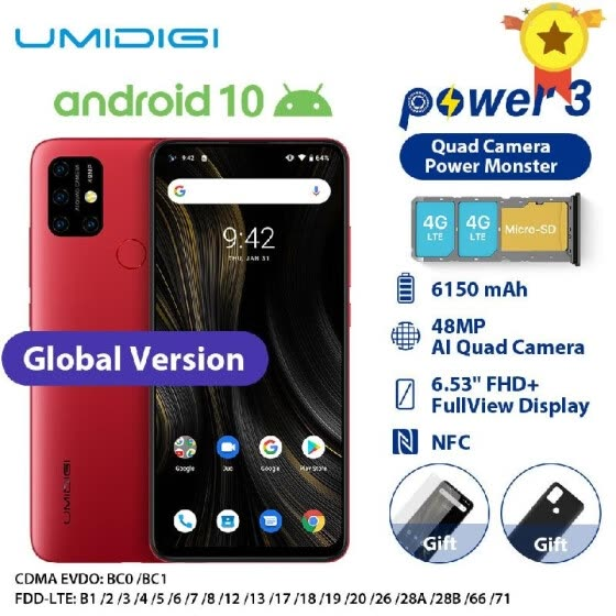 UMIDIGI Power 3 Smartphone Android 10 4GB RAM 64GB ROM 6.35inch MediaTek Helio P60 octa-core 48MP Ultra Wide Macro Quad Camera 615