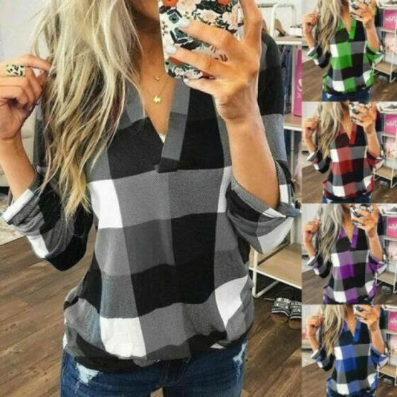 Women Casual Loose Flannel Plaid Shirt Button Stand Collar Tops Blouse T-shirts