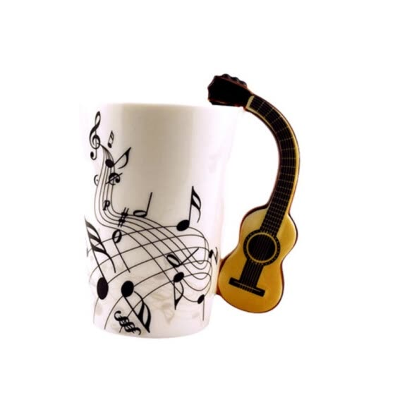Mugs Creative Guitar Shape Coffee Mug Personality Notes Porcelain Cup Colorful Package Home Office Essential Mugs