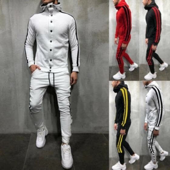 Men Tracksuit Jogging Top Bottom Sport Sweat Suit Trousers Hoodie Coat Pant