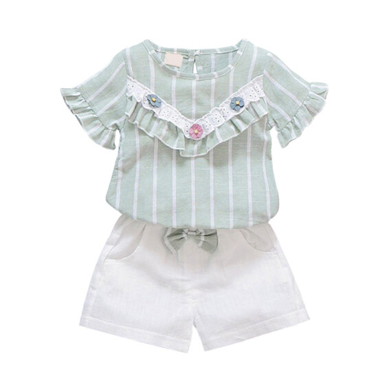Flower Pants Shorts Outfits Set Weixinbuy Baby Girls Lace Shirts T-shirt Tops