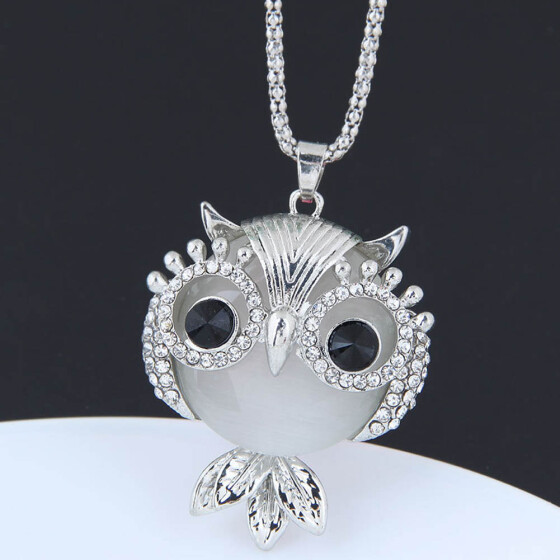 Fashion Crystal Opal Owl Chain Pendant Gold Sweater Charm Necklace Jewelry Gifts