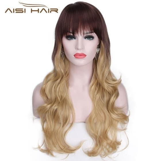 Aisi Hair Ondulado Largo Ombre Blonde Cosply Wig Pelo Largo