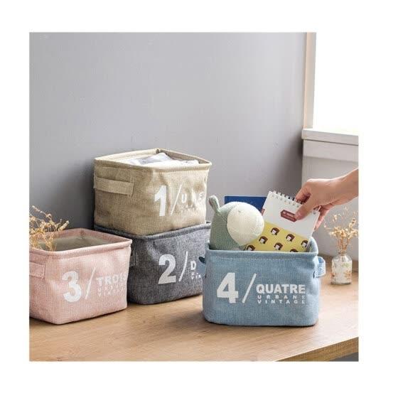 Shop Square Fabric Storage Basket Set of 4 Foldable Storage