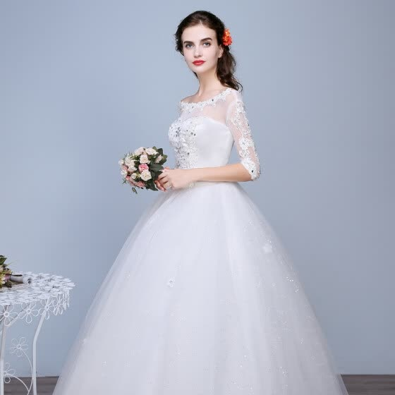 Ball Gown Off-the-shoulder Chapel Train Lace Tulle Wedding Dress with Beading Appliques Bow