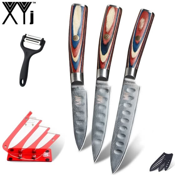 XYj Cooking Damascus 3pcs Knives Set Red Knife Holder Peeler Slicing Utility Paring Knives