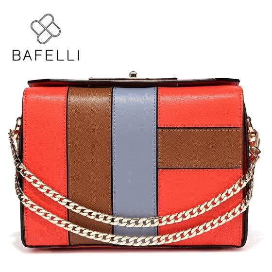 BAFELLI Autumn and winter new arrivals split leather panelled crossbody  metal chains flap shoulder handbag women 6001afa7f3