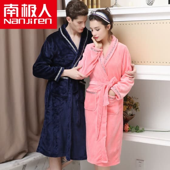 Antarctic pajamas home service thicker flannel long sleeves bathrobes couples pajamas men and women autumn and winter classic can wear gowns N8R5X20112 female models pink M