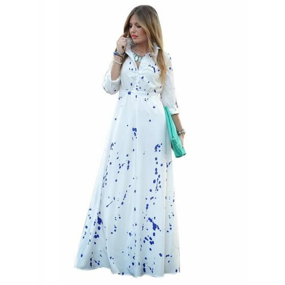 7b016fa64e1 CHOIES Women Summer Maxi Dress Rayon Splash Print Half Sleeves Long Shirt  Dress - White