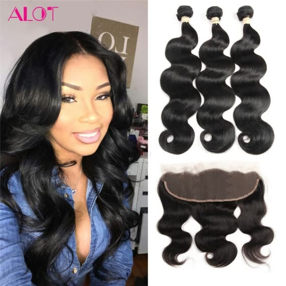 ALot Human Hair Brazilian Virgin Hair Lace Frontal Closure with 3 Bundle Hair Weave Brazilian Body Wave Natural Black